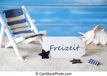 Summer Label With Deck Chair, Freizeit Means Leisure Time -...