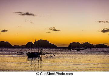 Sunset sea on the Philippine island - Beautiful sunset sea...