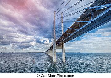 The bridge. Denmark, Sweden, Oresundsbron - The bridge...