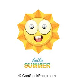 vector hello summer label with smiling shiny sun - vector...