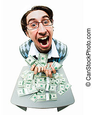 Greedy man - Portrait of rich man raking in American dollars...
