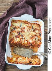 Dish of parmigiana di melanzane