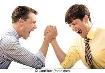 Cry during struggle - Portrait of emotional men screaming...