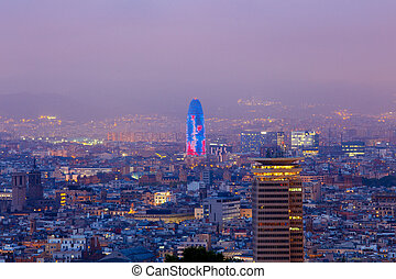 Barcelona. Aerial view of the city in the evening.
