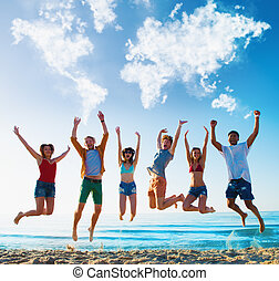 Happy smiling friends jumping over a blue sky with a world...