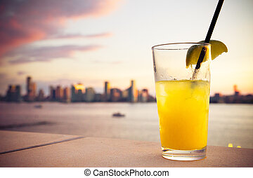 Cocktail Sunset - Refreshing cocktail with sunset and hudson...