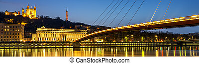 Lyon blue hour - night view from Lyon city near the...