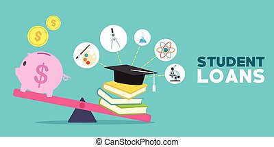 student loans with piggybank and books illustration vector...