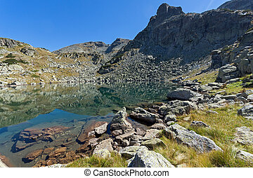 Amazing landscape of Lake with clear waters, Rila Mountain,...