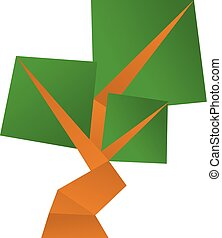 Origami tree icon, cartoon style - Origami tree icon....