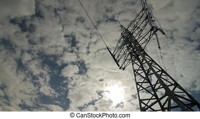 High-voltage tower with high voltage wires