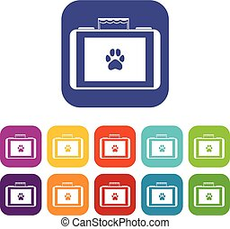 Suitcase for animals icons set
