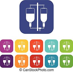 Intravenous infusion icons set vector illustration in flat...