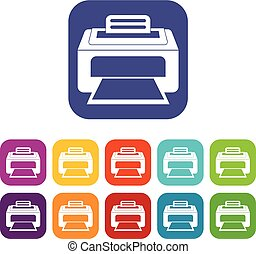 Modern laser printer icons set vector illustration in flat...
