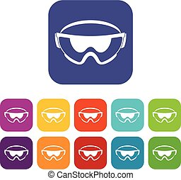 Safety glasses icons set vector illustration in flat style...