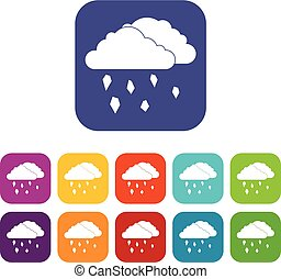 Clouds and hail icons set vector illustration in flat style...