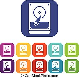 HDD icons set vector illustration in flat style In colors...