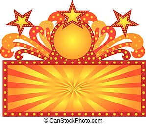 Retro Marquee Sign with Sunrays Stars Illustration - Retro...