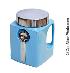 Sugar bowl - Blue sugar bowl isolated with clipping path...