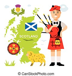 Vector Scottish bagpiper. Flat style colorful Cartoon...