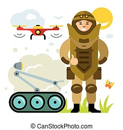 Vector Demolitions. Man in Bomb suit. Flat style colorful...