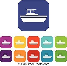 Motor boat icons set