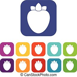 Ripe persimmon icons set vector illustration in flat style...