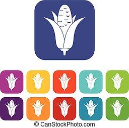 Corncob icons set
