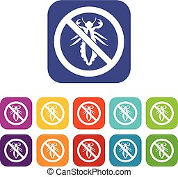 No louse sign icons set vector illustration in flat style In...
