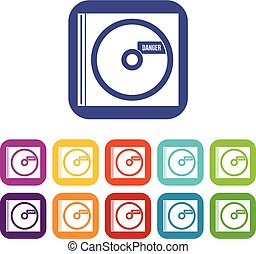 CD with danger lettering icons set vector illustration in...