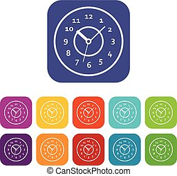 Watch icons set vector illustration in flat style In colors...