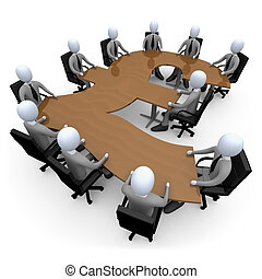 Financial Meeting - 3d people having a meeting around a...