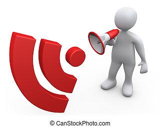 Blog Announcement - 3d person holding a bullhorn making an...