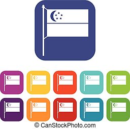 Flag of Singapore icons set