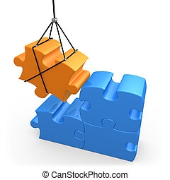 Constructive Solutions - 3d puzzle piece being put into...