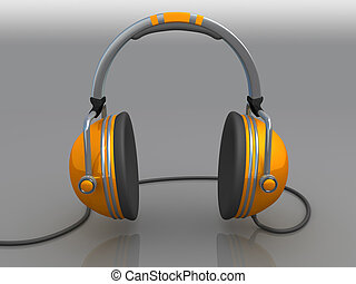 Headphones - Computer Generated 3D Image - Headphones .