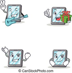 Seyt of tablet character with guitar gift successful...