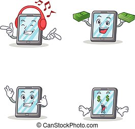 Set of tablet character with listening music money call me...