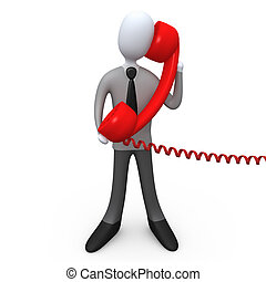Phone Support - 3d business person holding a large red phone...