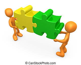 Working Together - 3d people carrying two connected puzzle...