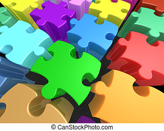 Colorful Puzzle Pieces - Background full of multicolored...