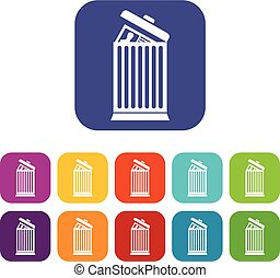 Resume thrown away in the trash can icons set vector...