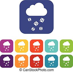 Cloud and hail icons set vector illustration in flat style...