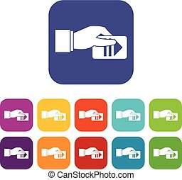 Hand with parking ticket icons set vector illustration in...