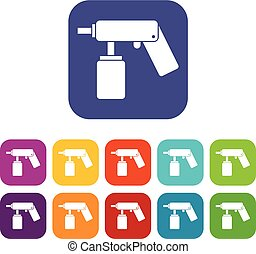 Spray aerosol can bottle with a nozzle icons set vector...