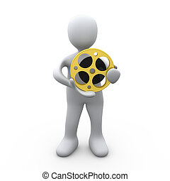 Person Holding A Film Reel - 3D Person Holding A Film Reel .