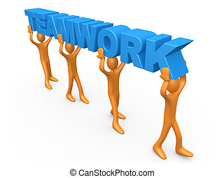 Teamwork - 3d people walking in a row holding the word...