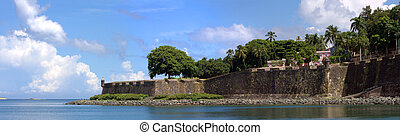 Old San Juan City Wall - The city boundary and old decaying...