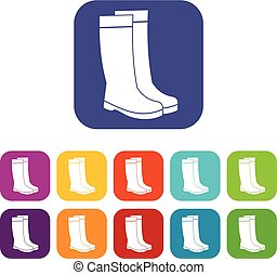 Rubber boots icons set vector illustration in flat style In...