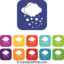 Cloud with hail icons set vector illustration in flat style...